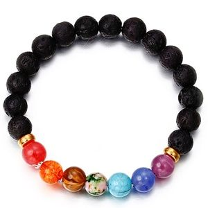 Jewelry - 5 for $25 Seven Chakra Black Lava Stone Bracelet